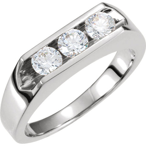 1 1/2ct Diamond Three Stone Mens Wedding Ring in White or Yellow Gold 14k