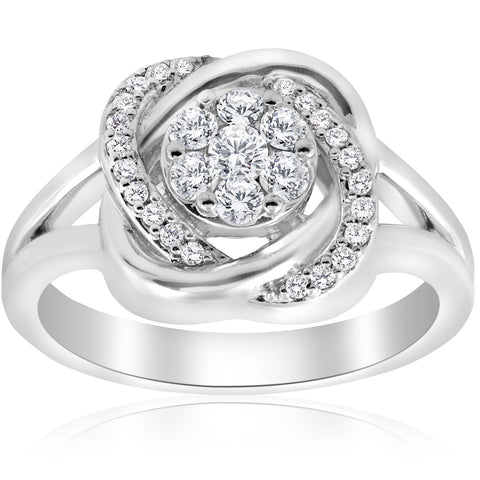 1/2 ct Diamond Halo Crossover Engagement Ring Round Brilliant Cut 14k White Gold