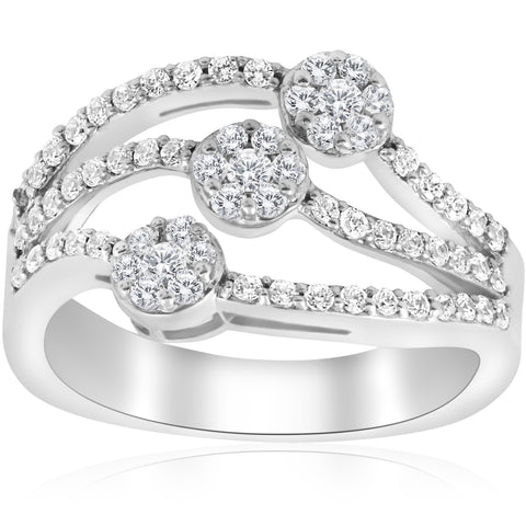 Diamond .90ct Ring 14k White Gold Multi Row Round Brilliant Cut Unique Wide Band