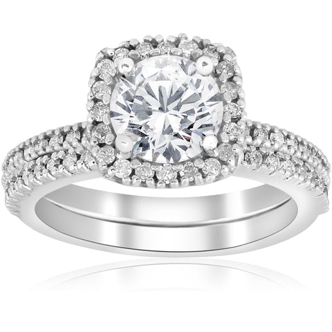 1 1/5ct Diamond Cushion Halo Engagement Ring Wedding Band Set 14k White Gold