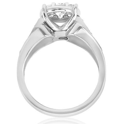 1 1/2ct Diamond Halo Engagement Ring Wide 3-Row Band 10K White Gold Solitaire