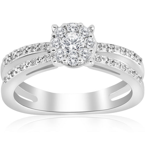 1/2ct Diamond Halo Split Shank Round Brilliant Engagement Ring 14k White Gold