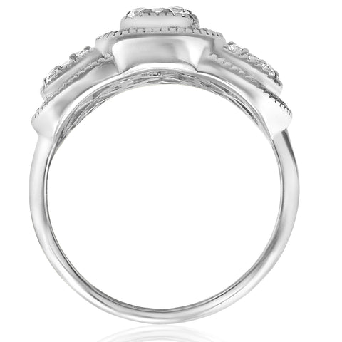 3/4ct 3-Stone Pave Cushion Halo Diamond Engagement Ring Vintage Deco White Gold