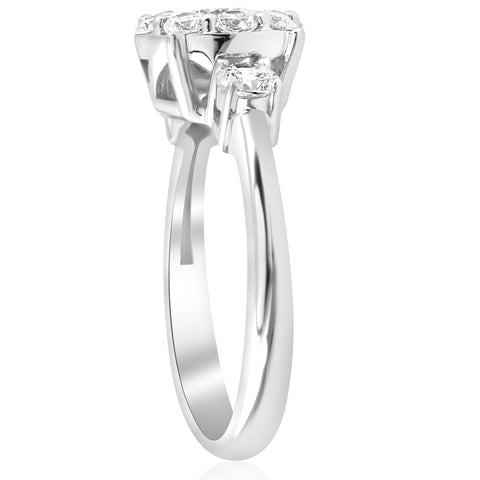 1 1/4ct Round Diamond Engagement Ring Pave Halo 3-Stone 14k White Gold Solitaire