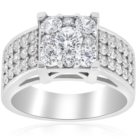 1 5/8 ct Square Framed Halo Diamond Engagement Ring Wide Pave White Gold