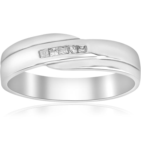 Mens Princess Cut Diamond Wedding Ring White Gold High Polished Channel Set