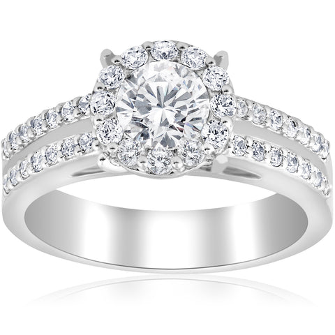 1 1/2ct Pave Round Cut Halo Diamond Engagement Ring 14k White Gold Double Row