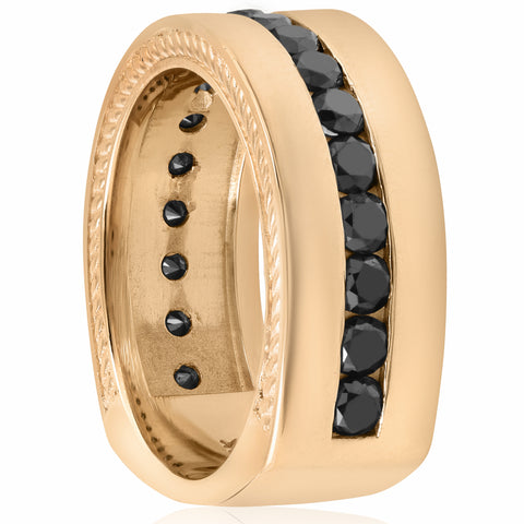 2 5/8ct Black Diamond Men Yellow Gold Band Heavy 15g Wide 9mm Rope Polished Ring