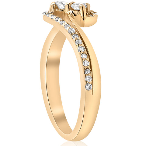 1/2 ct Two Stone Diamond Engagement Ring Yellow Gold 2 Stone Solitaire Jewelry