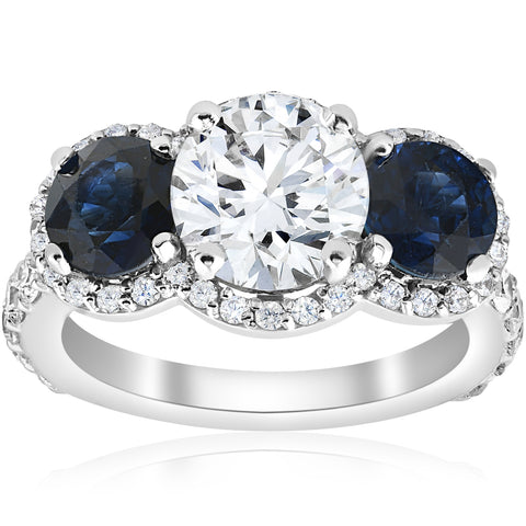 3 1/2 ct Genuine Sapphire & Diamond Halo 3-Stone Engagement Ring 14k White Gold