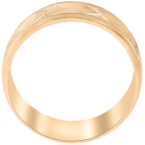 10k Yellow Gold Men's Comfort-Fit Wedding Band with Satin Finish and Cuts 8MM