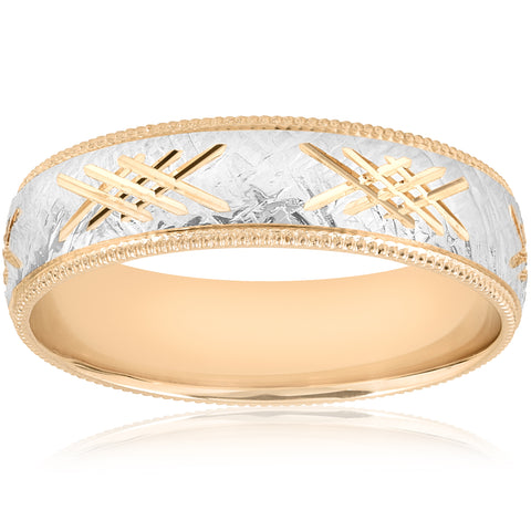 10k Gold Men's Comfort-Fit Wedding 6MM Hand Etched Two Tone Band