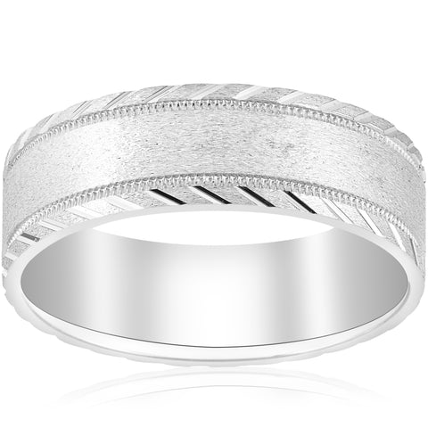 10k White Gold Mens 7mm Wedding Ring Brushed With Cuts Comfort-Fit