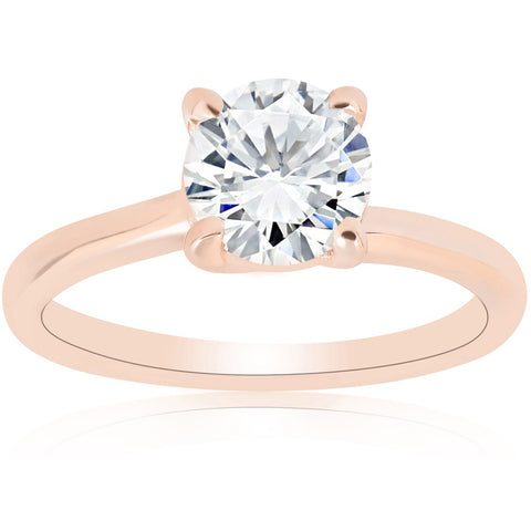 G/SI 1ct Diamond Solitaire Engagement Ring 14k Rose Gold Clarity Enhanced