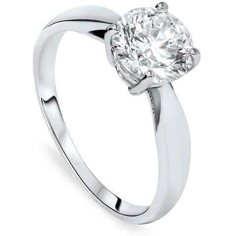 1 1/2ct 4-Prong Enhanced Diamond Solitaire Engagement Ring 14K White Gold