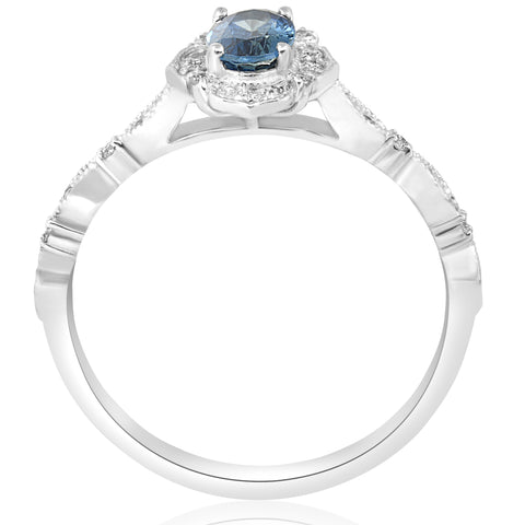 Blue Sapphire Vintage Halo Diamond Engagement 3/4ct Ring 14k White Gold Antique