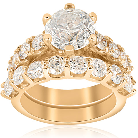 Large 6 cttw Diamond Engagement Matching Wedding Ring 14k Yellow Gold Enhanced
