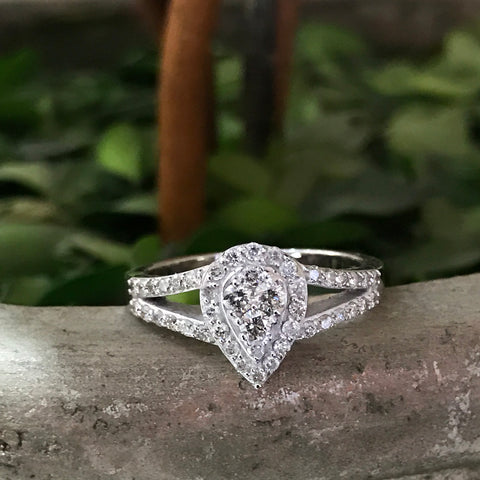 1/2ct Pear Shape Pave Halo Split Diamond Engagement Jewelry 10k White Gold Ring
