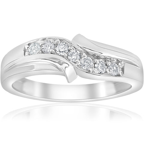 Platinum Mens Diamond Ring White 1/4ct Wedding Band High Polished Band