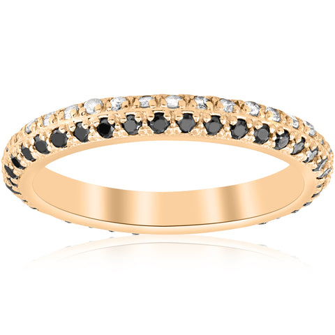 5/8ct Black & White Diamond Eternity Wedding Ring 14k Yellow Gold Band Treated