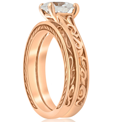 1ct Diamond Solitaire Rose Gold Vintage Engagement Ring Wedding Band Enhanced