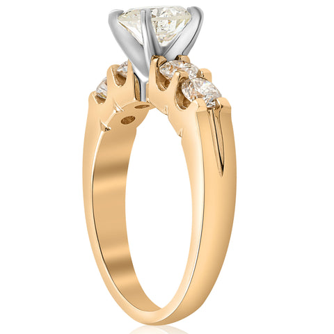 1 3/4ct Diamond 14k Yellow Gold Engagement Ring U Prong Enhanced Round Solitaire