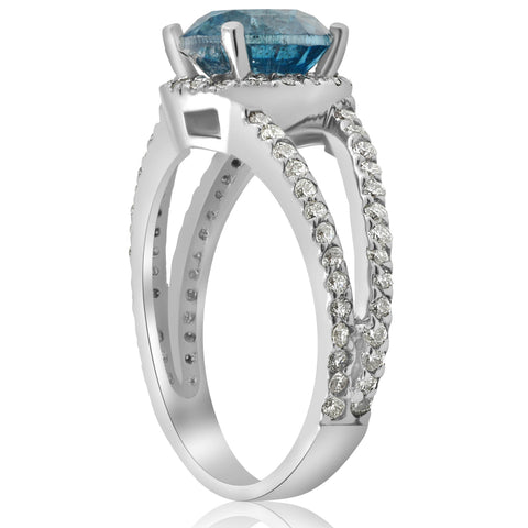 3 1/2ct Large Blue Diamond Halo Engagement Ring Split Shank White Gold Treated