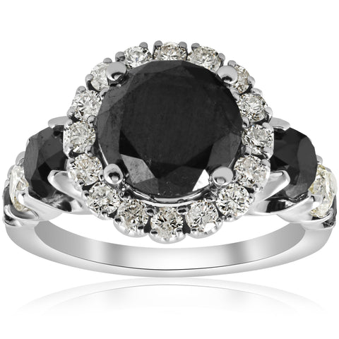 5ct Black & White Diamond Halo Engagement Ring 14k White Gold Jewelry Treated