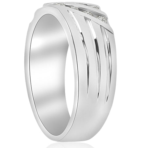 Mens 1/2ct Diamond Wedding Ring Three Row Polished Channel Set Band white Gold
