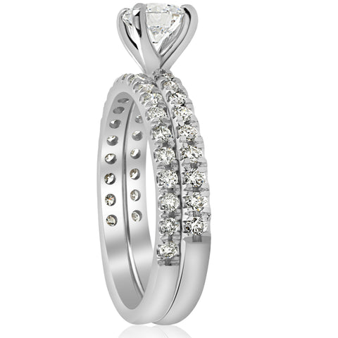 1 1/4ct Diamond Engagement Wedding Ring French Pave Set 14k White Gold Solitaire