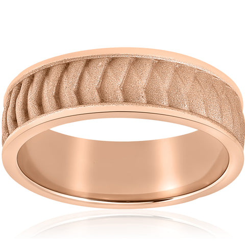 Mens Solid 14k Rose Gold Braided Wedding Band 8mm Comfort Fit 2mm Thick Ring
