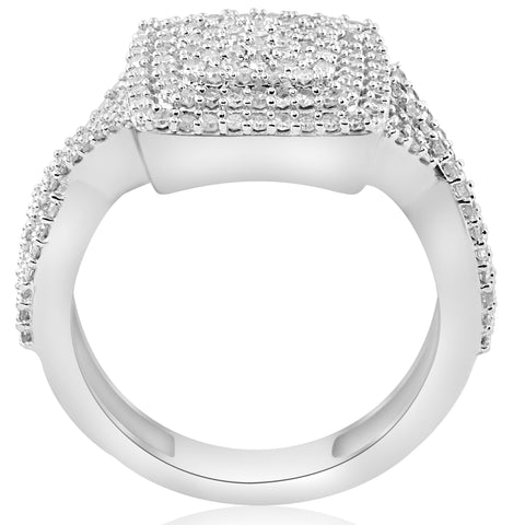 5/8ct Double Cushion Halo Diamond Interwoven Pave Engagement Ring 10K White Gold