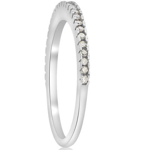 1/10ct Pave Diamond Wedding Ring 10k White Gold Stackable Womens Thin Band
