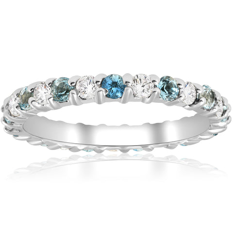 1ct Diamond & Aquamarine Eternity Ring Common Prong 14k White Gold Stackable