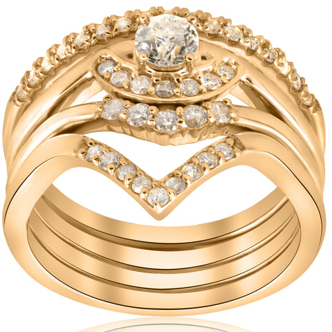 1/2ct 4-Ring Stackable Yellow Gold Diamond Solitaire Wedding Engagement Set