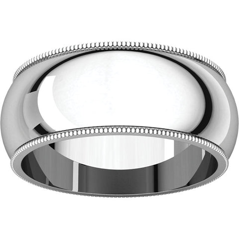 9mm Platinum Milgrain Wedding Band Solid 950