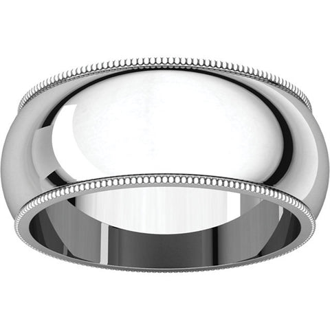 10mm Platinum Milgrain Wedding Band Solid 950