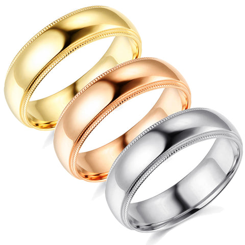 6mm Milgrain Plain High Polished Dome Wedding Band 10k White, Yellow, Rose Gold