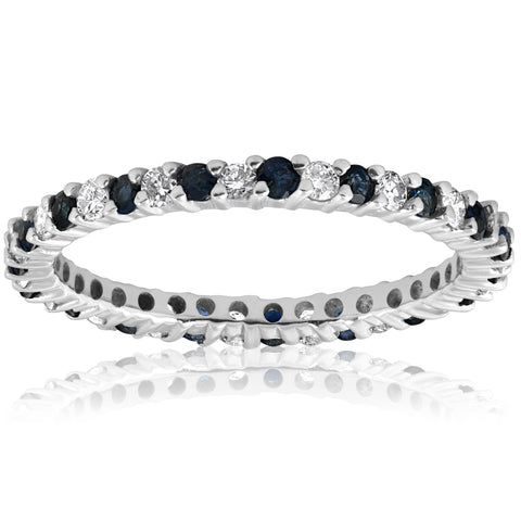 1/2ct Blue Sapphire Diamond Wedding Band Stackable Eternity Ring 14k White Gold