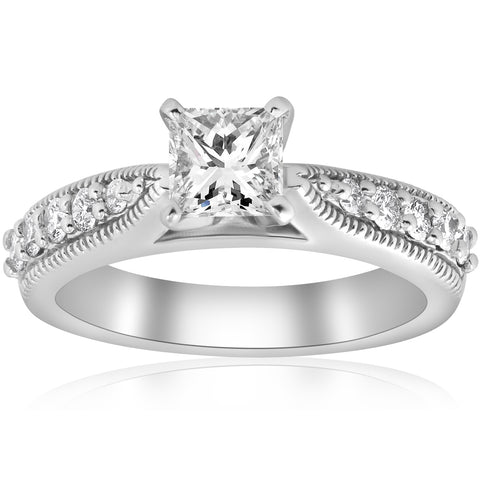 1 3/8ct Princess Cut Diamond Engagement Ring Antique Deco Enhanced White Gold