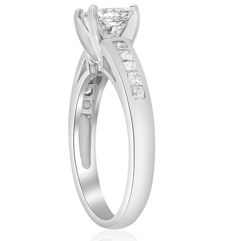 1 1/2ct Princess Cut Diamond Engagement Ring 14k White Gold Enhanced Channel Set