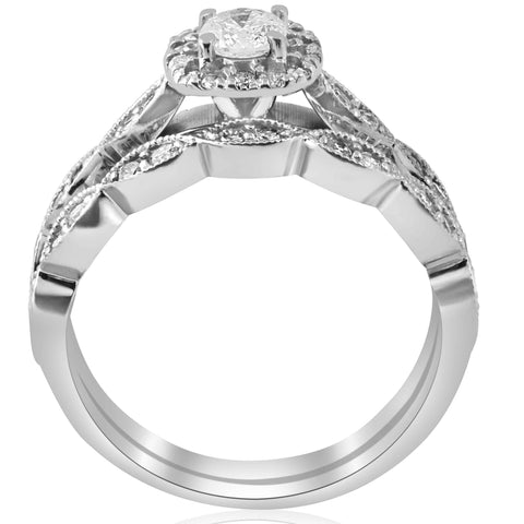 7/8 cttw Cushion Halo Diamond Engagement Wedding Ring Set 14k White Gold