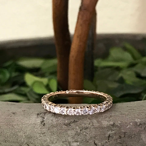G/SI .90ct Diamond Eternity Ring 14k Rose Gold Womens Stackable Wedding Band