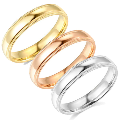 5mm Milgrain Plain High Polished Dome Wedding Band 10k White, Yellow, Rose Gold