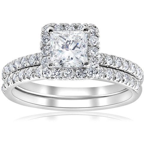 E VS 1 5/8ct GIA Certified Princess Cut Halo Diamond Engagement Ring Set Gold
