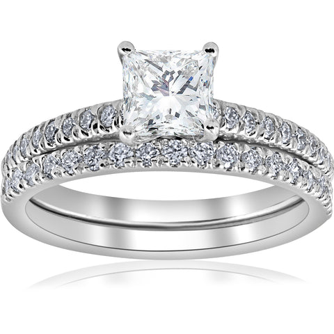 G VS 1 3/8ct GIA Certified Princess Cut Halo Vintage Diamond Engagement Ring 14k