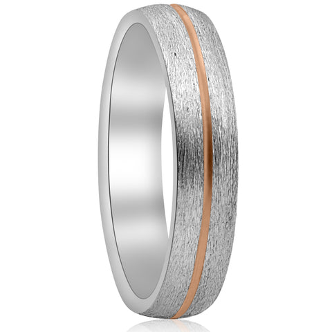 5mm 14k Rose Gold Two Tone Mens Brushed Wedding Band