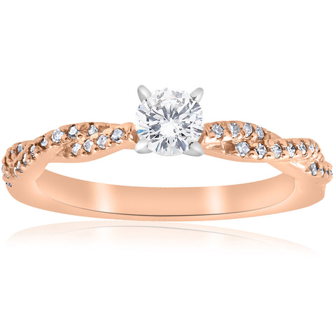 1/2cttw Diamond Engagement Ring 14k Rose Gold Twist Intertwined Round Cut