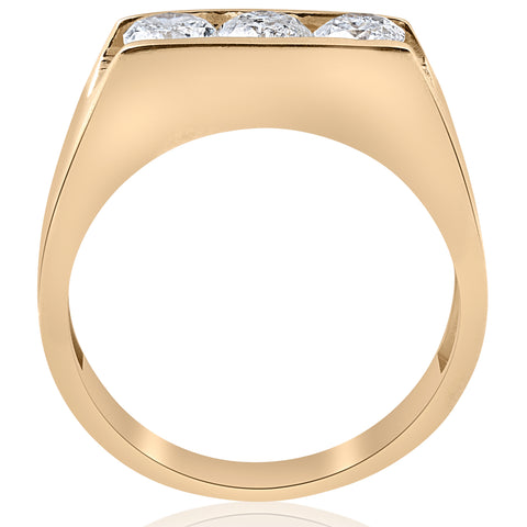 1 1/2ct Diamond Three Stone Mens Wedding 3 Round Jewelry Ring 10k Yellow Gold