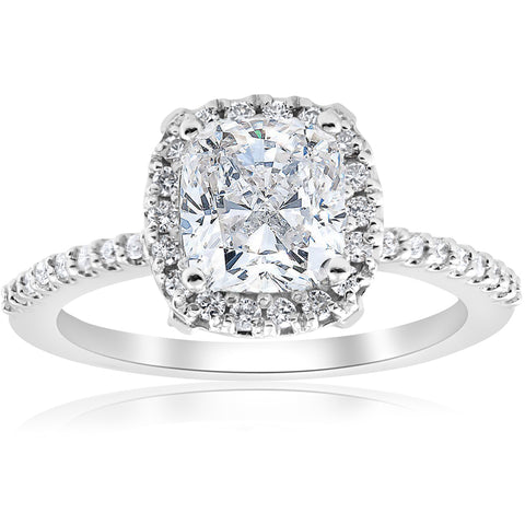 1 3/4ct Cushion Halo Diamond Engagement Ring 14k White Gold Enhanced